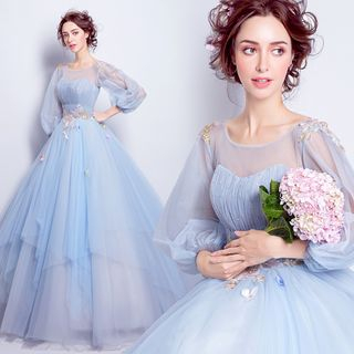 Image of Embroidered Balloon-Sleeve Ball Gown