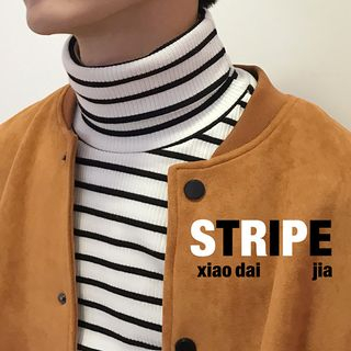 Image of Striped Turtleneck Long-Sleeve Ribbed Top