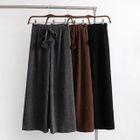 Plain Corduroy Wide Leg Pants 1596