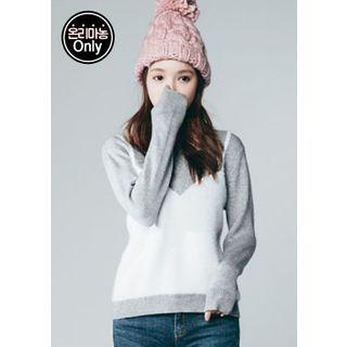 Inset Mock-Bustier Furry-Knit Top 1055205140