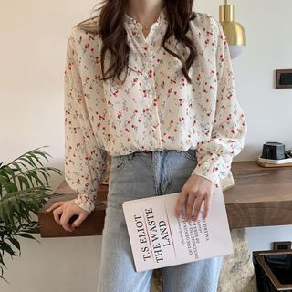 Image of Long-Sleeve Printed / Plain Blouse