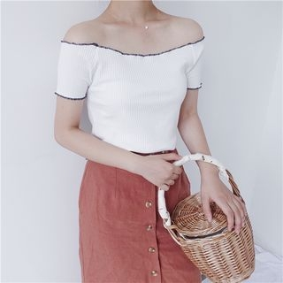 Off-Shoulder Ribbed Knit Top 1060822564
