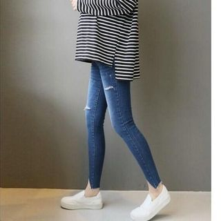 Image of Maternity Asymmetric Cropped Ripped Jeans