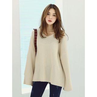 Drop-Shoulder Slit-Sleeve Knit Top 1057281769