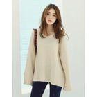 Drop-Shoulder Slit-Sleeve Knit Top 1596