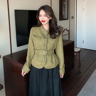 Striped Button-up-up Jacket / Midi Accordion Pleat Skirt