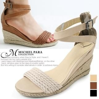 Picture of MICHEL PARA COLLECTION Ankle Strap Wedge Sandals 1022939849 (Sandals, MICHEL PARA COLLECTION Shoes, Korea Shoes, Womens Shoes, Womens Sandals)