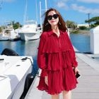 Pleated Long-Sleeve Chiffon Dress 1596