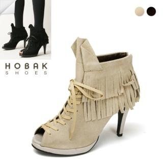 Buy HOBAK girls Genuine Leather Open-Toe Fringed Pumps 1022073901