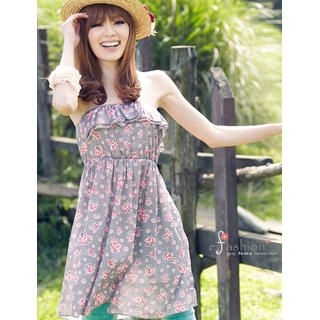 Picture of eFashion Strapless Ruffled Floral Dress 1022897841 (eFashion Dresses, Womens Dresses, Taiwan Dresses)