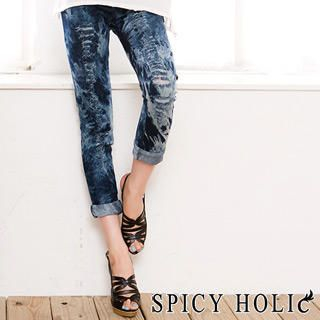 Picture of SPICY HOLIC Washed Slashed Jeggings 1022939979 (SPICY HOLIC Pants, Taiwan Pants)