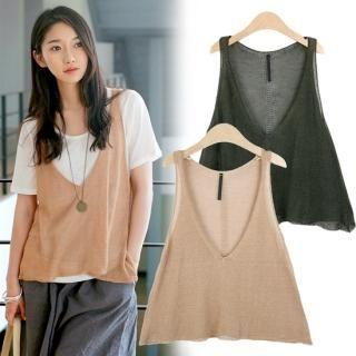 Buy MOUL STYLE V-Neck Linen Knit Vest 1022869406