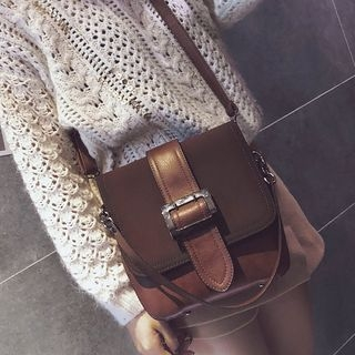 Buckled Faux Leather Crossbody Bag