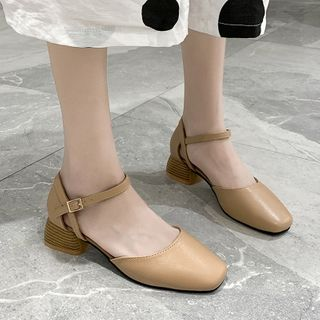 Image of Square-Toe Chunky Heel Loafers
