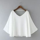 Short-Sleeve V-Neck Chiffon Top 1596
