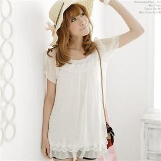 Buy LOYER.mod Pola Dot Chiffon Lace Dress Cream – One Size 1022793440