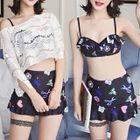 Set: Printed Bikini Top + Swim Skirt + Lace Cover-Up Top 1596