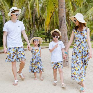 Image of Family Matching Sleeveless Hooded Dress/ Embroidered Short-Sleeve T-Shirt/ Drawstring Shorts