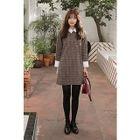 Contrast-Collar Plaid Mini Shift Dress 1596
