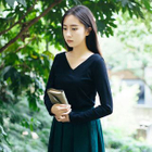 Long-Sleeve V-Neck T-Shirt 1596