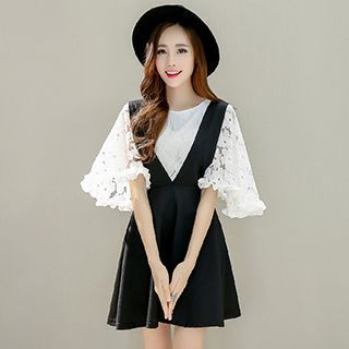 Set: Elbow-Sleeve Lace Top + A-line Pinafore Dress 1049749540