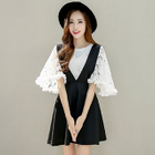 Set: Elbow-Sleeve Lace Top + A-line Pinafore Dress 1596