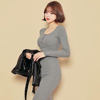 Half-Placket Ribbed Long Dress 1062264880