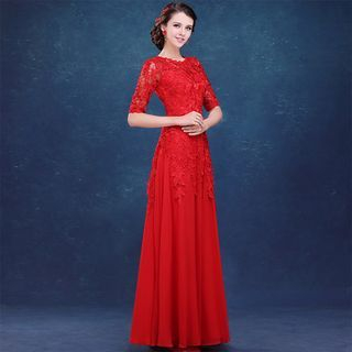 Elbow-Sleeve Lace Panel Sheath Evening Gown 1046453030