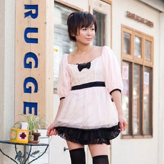 Picture of ageha@shibuya Contrast-Trim Bow-Accent Dress Pink - One Size 1022149452 (ageha@shibuya Tees, Womens Tees, Japan Tees, Causal Tops)