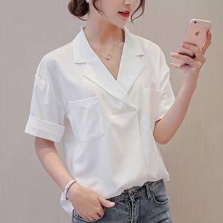 V-Neck Short-Sleeve Blouse 1060870774