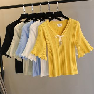 Image of Elbow-Sleeve Lace-Up Knit Top