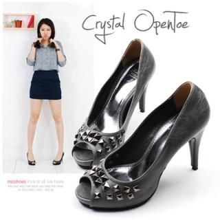 Buy Miz shoes Studded Open Toe Pumps 1022391433