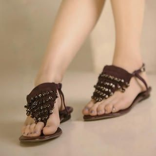 Buy Kvoll Genuine Leather Studded Thong Sandals 1023069623