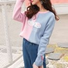 Bow Detail Color Block Sweater 1596