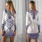Long-Sleeved Floral Print Tie-Waist Sheath Dress 1596