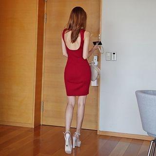 Sleeveless Cutaway-Back Ribbed Dress 1051004427
