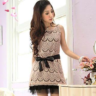 Buy Tokyo Fashion Sleeveless Lace Dress with Satin Sash 1022550021