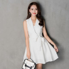 Notched-Lapel Tie-Waist Sleeveless Dress 1596