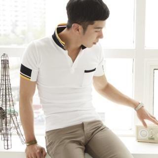 Buy MUTNAM Contrast-Color Polo Shirt 1022555261