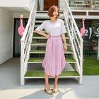 Elastic-Waist Asymmetric Ruffle Skirt 1596