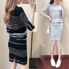 Set: Striped Knit Top + Pencil Skirt 1596