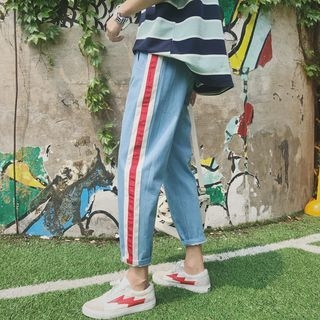 Contrast-Trim Slim-Fit Jeans 1066843942