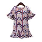 Chevron Bell-Sleeve Dress 1596