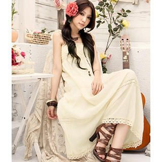 Picture of Tokyo Fashion Smocked Lace-Up Maxi Dress 1022882952 (Tokyo Fashion Dresses, Womens Dresses, Taiwan Dresses)