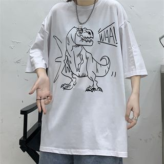 T-Shirt   T-Rex   White   Print   Size   One