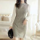 Chiffon-Sleeve M lange Mini Sheath Dress 1596