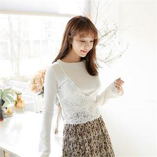 Set: Round-Neck Plain T-Shirt + Sleeveless Crochet Top 1057937158