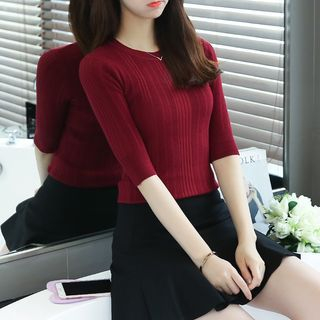 Elbow-Sleeve Ribbed Knit Top 1051504741
