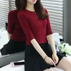 Elbow-Sleeve Ribbed Knit Top 1596