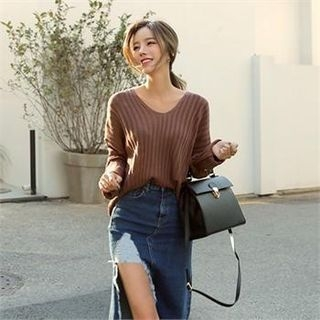 V-Neck Ribbed Knit Top 1063229571